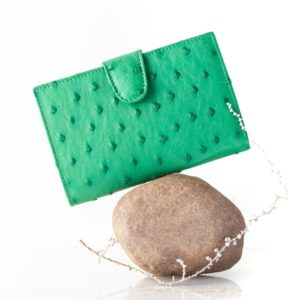 A012.OS - Ostrich Leather Ladies purse with tab