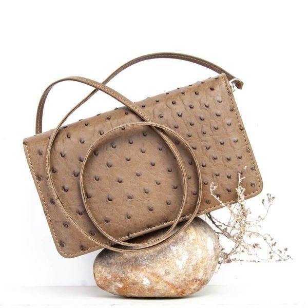 African ostrich leather - Ellie Handbag